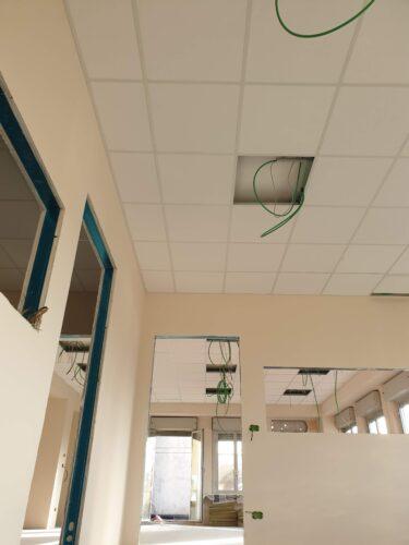 Cantiere Cuneo nuovi uffici vigili del fuoco Controsoffitti modulari fonoassorbenti
